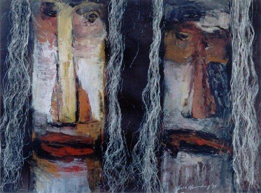 twee maskers met sisal